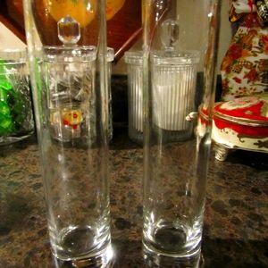 Set of Vintage Weighted Glass Tubular Bud Vases